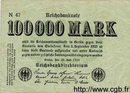 100000 Mark ALLEMAGNE  1923 P.091a TB