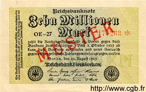 10 Millions Mark ALLEMAGNE  1923 P.106as pr.NEUF