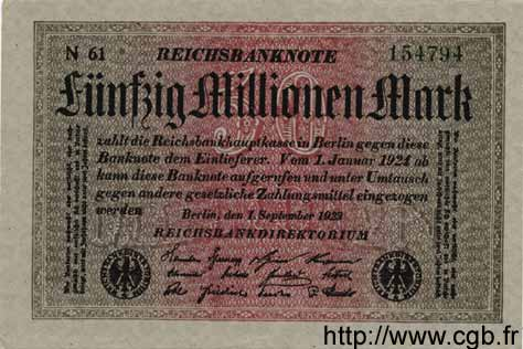 50 Millions Mark ALLEMAGNE  1923 P.109a pr.NEUF