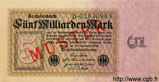 5 Milliarden Mark ALLEMAGNE  1923 P.115as NEUF