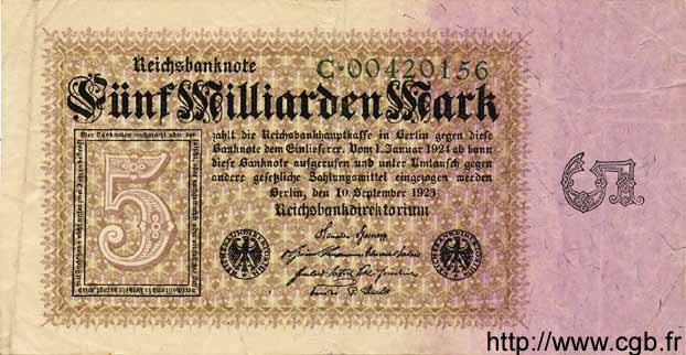 5 Milliarden Mark ALLEMAGNE  1923 P.115a TB+
