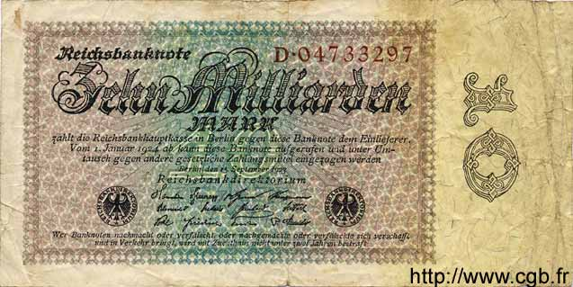10 Milliarden Mark ALLEMAGNE  1923 P.116a B