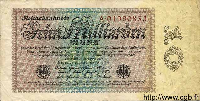 10 Milliarden Mark ALLEMAGNE  1923 P.116a TB