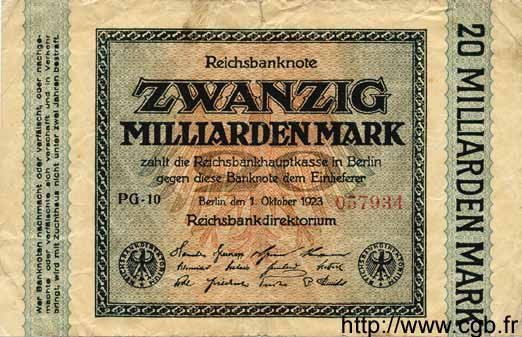 20 Milliarden Mark ALLEMAGNE  1923 P.118a B