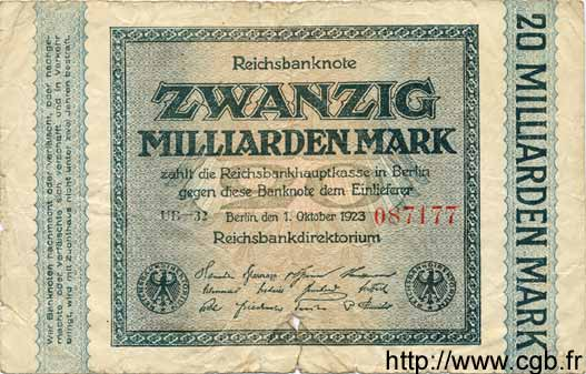 20 Milliarden Mark ALLEMAGNE  1923 P.118c AB