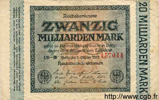 20 Milliarden Mark ALLEMAGNE  1923 P.118c B+