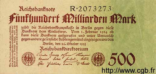 500 Milliarden Mark ALLEMAGNE  1923 P.127a SUP