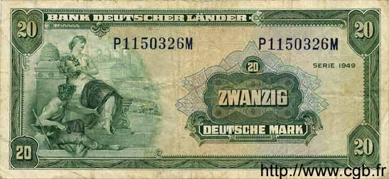 20 Mark ALLEMAGNE  1949 P.017a TB