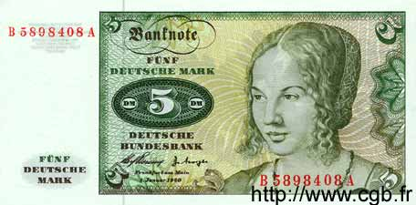 5 Mark ALLEMAGNE  1960 P.018 NEUF
