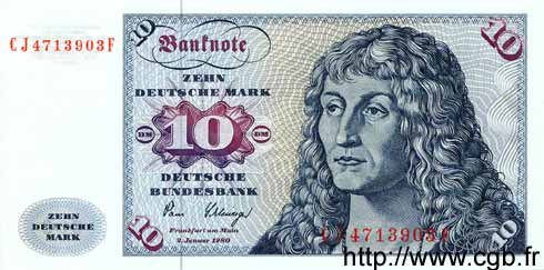 10 Mark ALLEMAGNE  1980 P.031c NEUF