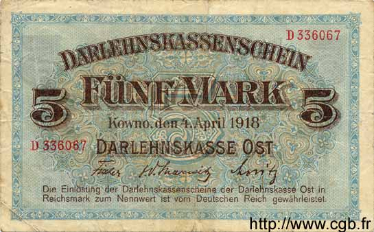 5 Mark ALLEMAGNE  1918 P.R130 TB