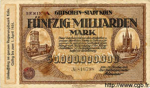 50 Milliarden Mark ALLEMAGNE  1923 K.2684lk TB