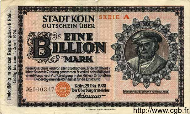 1 Billion Mark ALLEMAGNE Köln 1923 K.2684kk TB