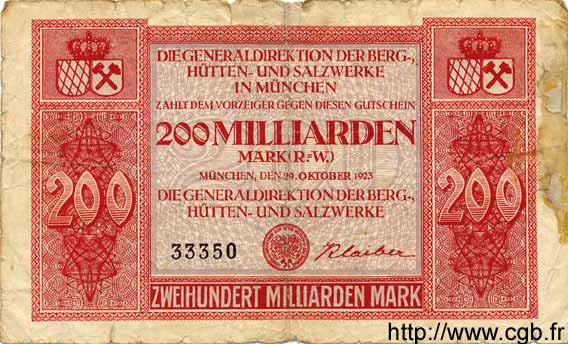 200 Milliarden Mark ALLEMAGNE Munich 1923 Bay.279b B