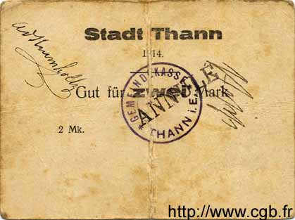 2 Mark ALLEMAGNE Thann 1914  TB