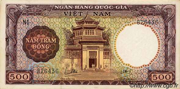 500 Dong VIET NAM SUD  1964 P.22a SUP