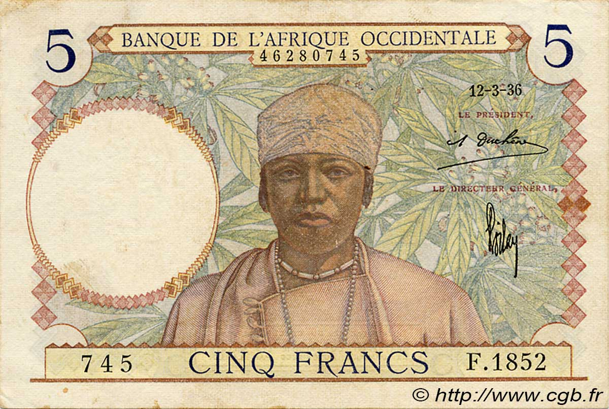 5 Francs  FRENCH WEST AFRICA  1936 P.21 VF+