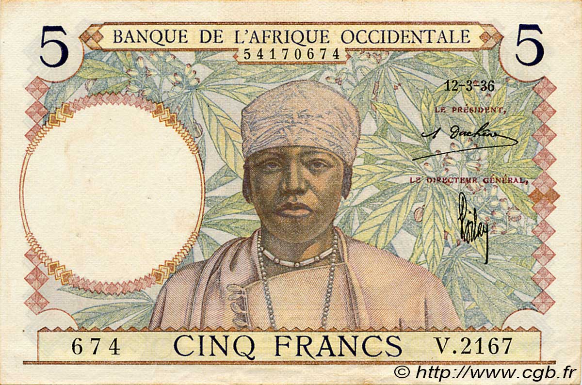 5 Francs  FRENCH WEST AFRICA  1936 P.21 XF