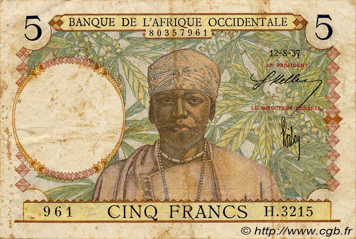 5 Francs FRENCH WEST AFRICA  1937 P.21 S