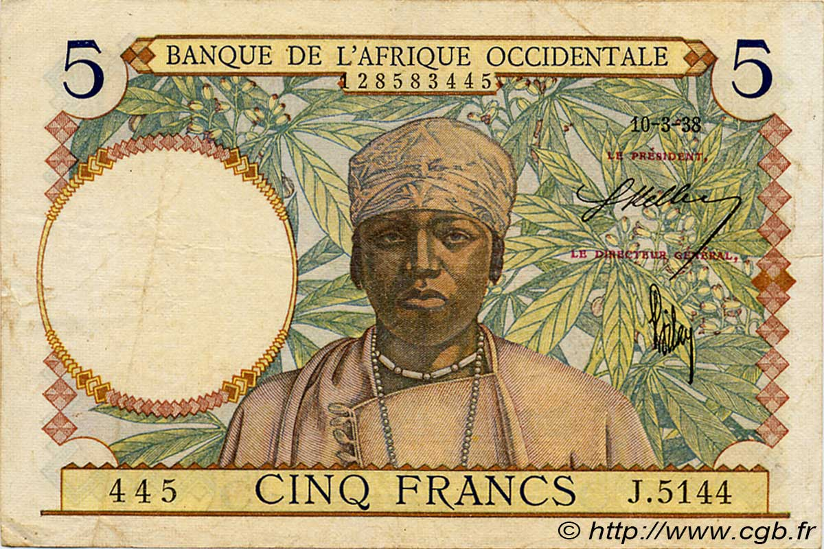 5 Francs  FRENCH WEST AFRICA (1895-1958)  1938 P.21 VF