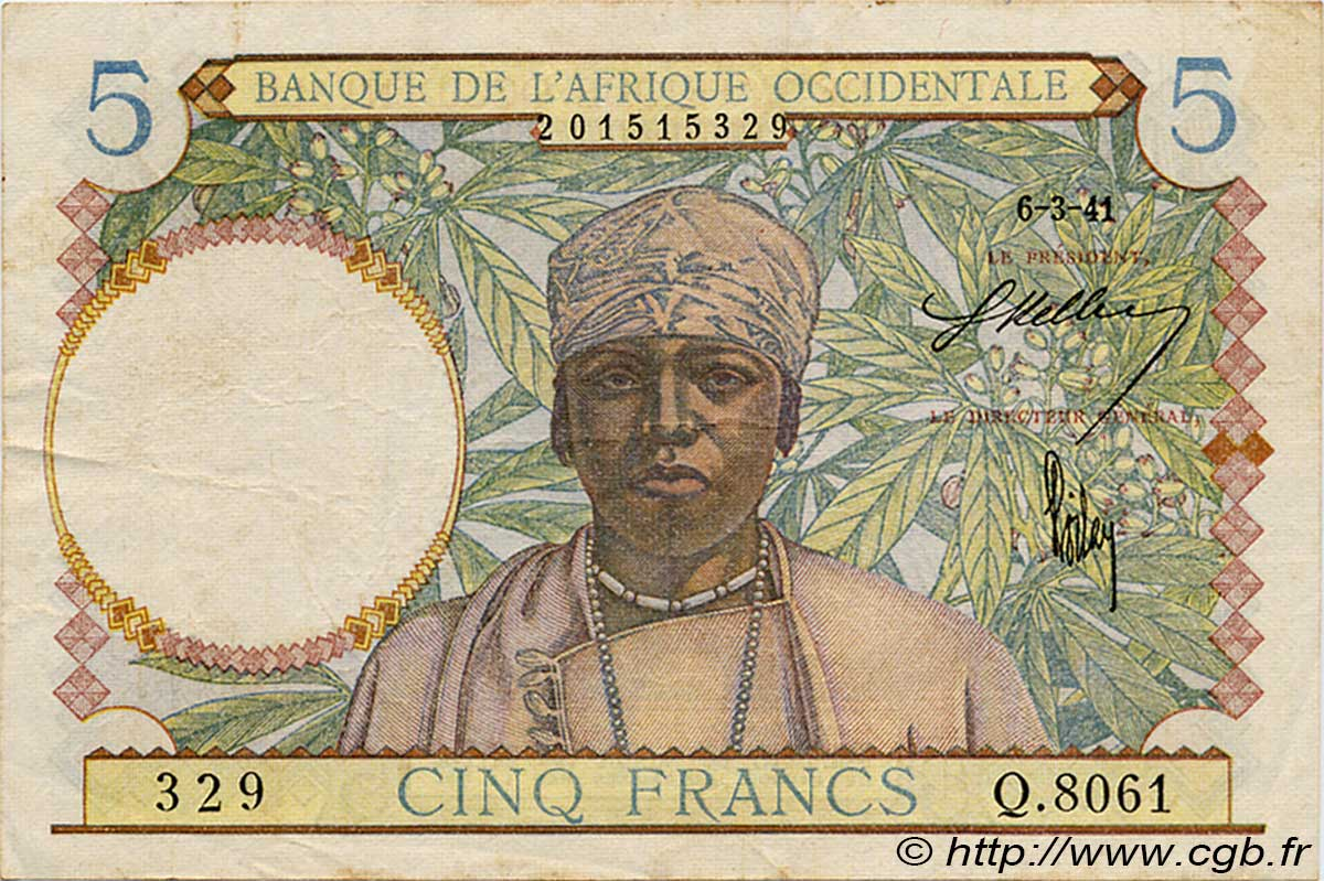 5 Francs  FRENCH WEST AFRICA (1895-1958)  1941 P.25 F+