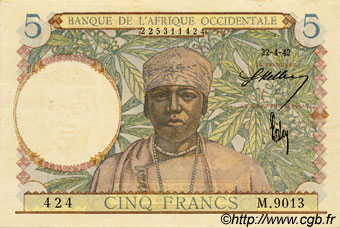 5 Francs  FRENCH WEST AFRICA (1895-1958)  1942 P.25 AU+