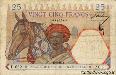 25 Francs FRENCH WEST AFRICA  1938 P.22 S