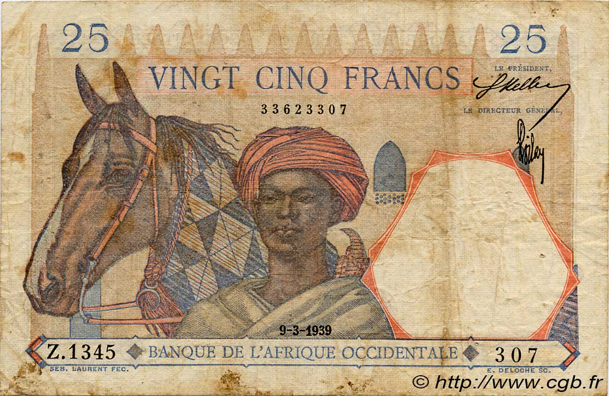 25 Francs FRENCH WEST AFRICA (1895-1958)  1939 P.22 VG
