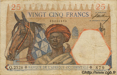 25 Francs FRENCH WEST AFRICA (1895-1958)  1942 P.27 F