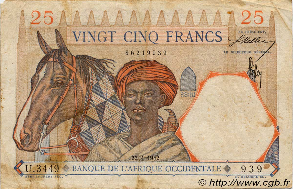 25 Francs  FRENCH WEST AFRICA (1895-1958)  1942 P.27 VF