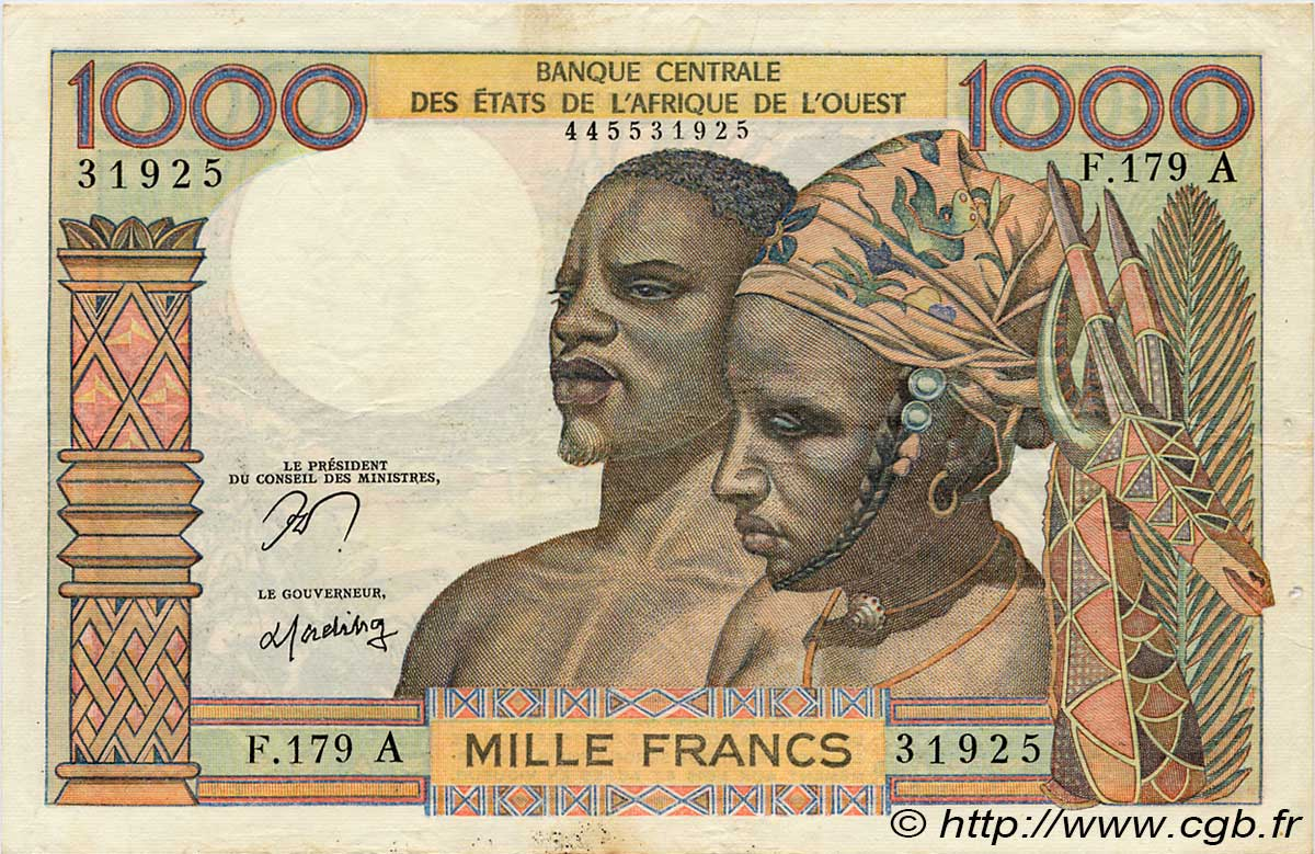 1000 Francs type 1960 COTE D IVOIRE  1977 P.103Am TTB