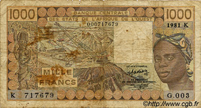 1000 Francs type 1977 SÉNÉGAL  1981 P.707Kb B