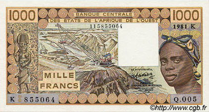 1000 Francs type 1977 SÉNÉGAL  1981 P.707Kb SPL