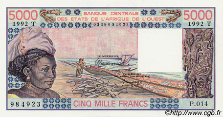 5000 Francs type 1976 TOGO  1992 P.808Tm