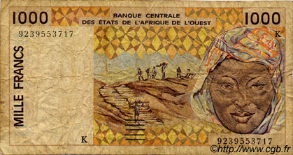 1000 Francs type 1991 SÉNÉGAL  1992 P.711Kb B