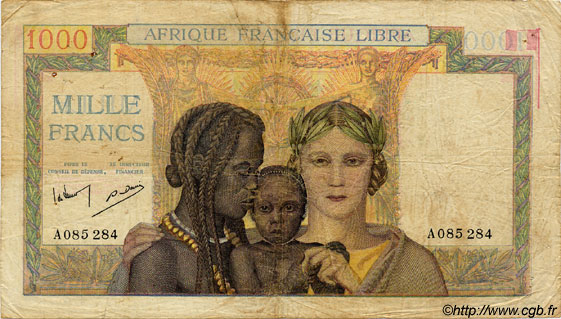 1000 Francs  FRENCH EQUATORIAL AFRICA Brazzaville 1942 P.09s F