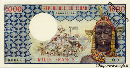 1000 Francs TCHAD  1973 P.03as SPL