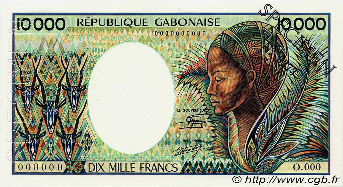 10000 Francs GABON  1983 P.07as SUP+