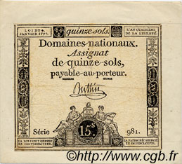 15 Sols FRANCE  1792 Laf.149 SUP