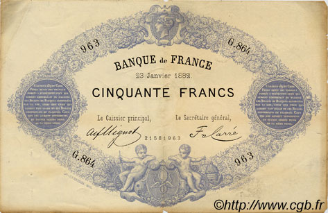50 Francs 1868, indices noirs FRANCE  1882 F.A38.12 pr.TTB