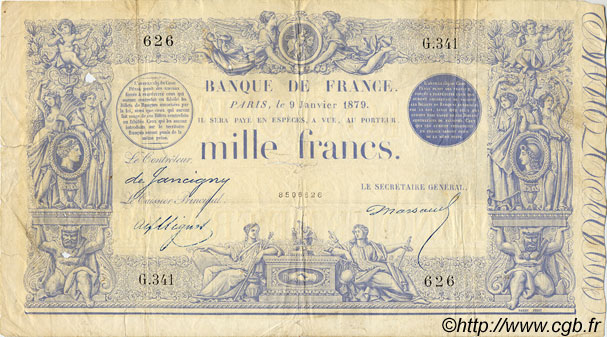 1000 Francs 1862, indices noirs FRANCE  1879 F.A41.15 B+ à TB