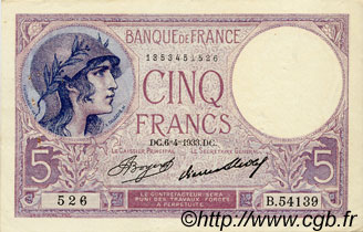 5 Francs VIOLET FRANCE  1933 F.03.17 pr.SUP