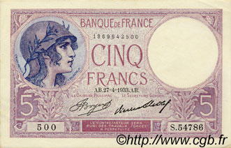 5 Francs VIOLET FRANCE  1933 F.03.17 SUP+ à SPL