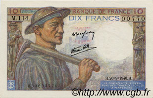 10 Francs MINEUR FRANCE  1946 F.08.15 TTB+ à SUP