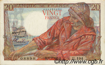 20 Francs PÊCHEUR FRANCE  1949 F.13.14 pr.SUP