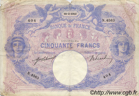 50 Francs BLEU ET ROSE FRANCE  1913 F.14.26 TB+