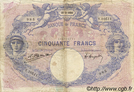 50 Francs BLEU ET ROSE FRANCE  1924 F.14.37 pr.B
