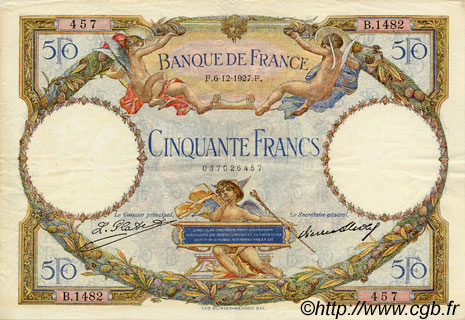 50 Francs LUC OLIVIER MERSON FRANCE  1927 F.15.01 SUP
