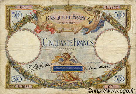 50 Francs LUC OLIVIER MERSON FRANCE  1928 F.15.02 TB