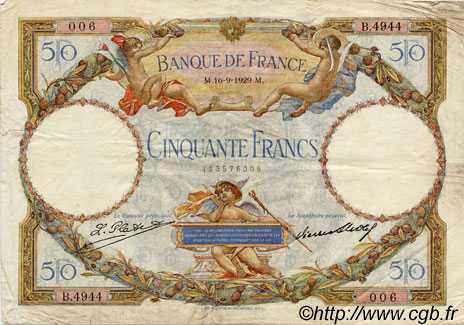 50 Francs LUC OLIVIER MERSON FRANCE  1929 F.15.03 TTB+